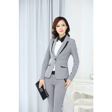 Jacket+Pants Light Gray Women Business Suits Slim Female Office Uniform 2 Piece Trouser Suit Ladies Winter Formal Suits