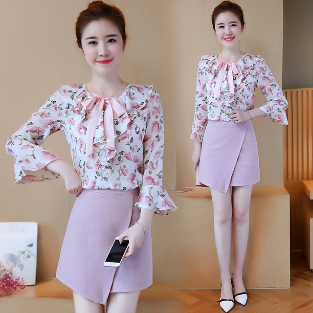 0598d9463 US $32.7 18% OFF|Korean fashion women autumn new chiffon blouse shirt &  pink skirt suit two piece clothing set lady outfit summer clothes S XL-in  ...