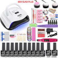 Nail Set 80W/54W SUNX Plus UV LED Lamp Dryer With Nail Gel Polish Kit Soak Off Manicure Set Gel Nail Polish For Nail Art Tools