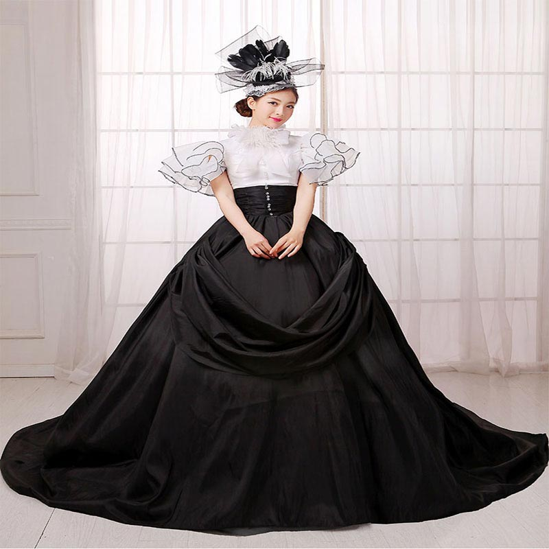 Customized 2018 Rococo Baroque masquerade Party Dress Black and White Stage  Performance Train Ball Gowns For Halloween-in Dresses from Women s Clothing  on ... 6621808be482
