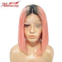 Али удивительные волосы темные корни розовый короткий Боб Синтетические волосы на кружеве человеческих волос парики предварительно сорва