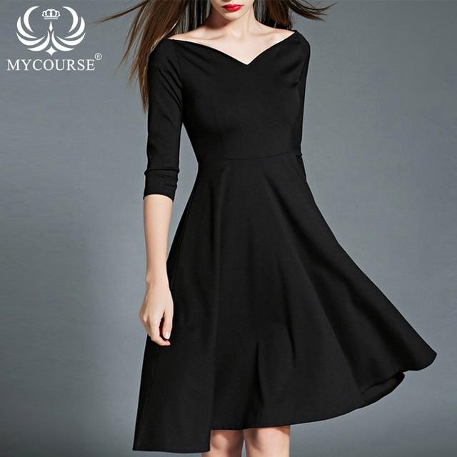 92f51ab1e MYCOURSE OL Vestido de Otoño Invierno de La Mujer Elegante Vestido Negro  Moda de Manga Tres