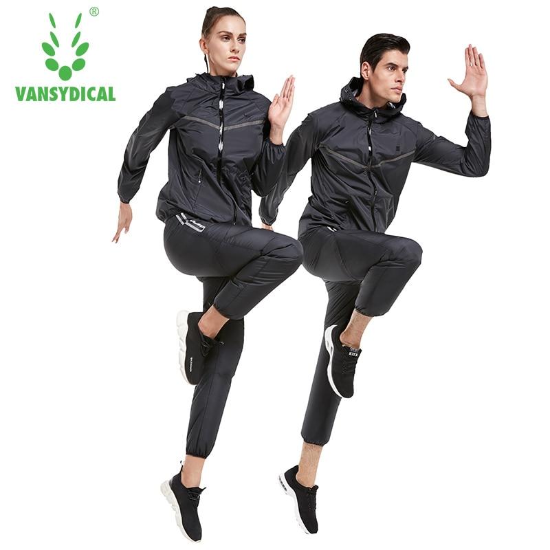 все цены на Vansydical Men Women Sweatshirt Sweat Suits Sports Running Sets Gym Workout Suit Jacket Pants Lose Weight Tracksuit Jogging Suit