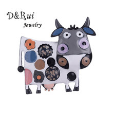 D&Rui Jewelry 2019 Kids Brooch Christmas Gift Enamel Animal Cow Brooches and Pins Boys Girls Coat Pin for Women Best-selling New