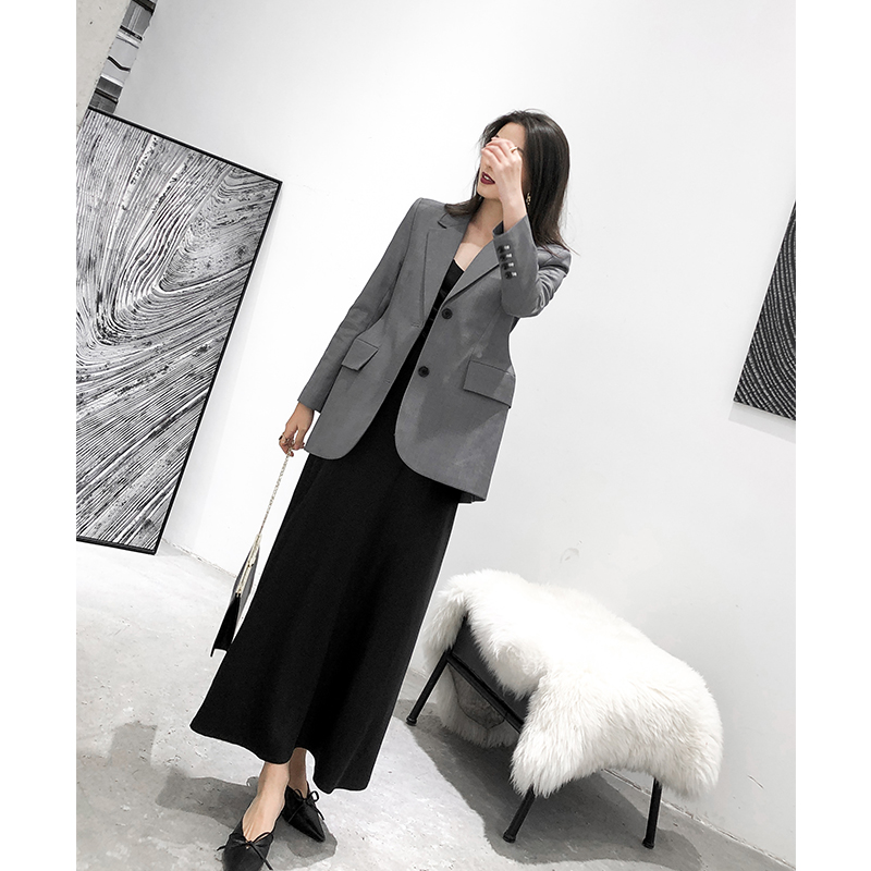 Grey Women Blazers And Jackets 2019 New Spring Autumn Fashion Single Button Blazer Femenino Ladies Suit Blazer Female