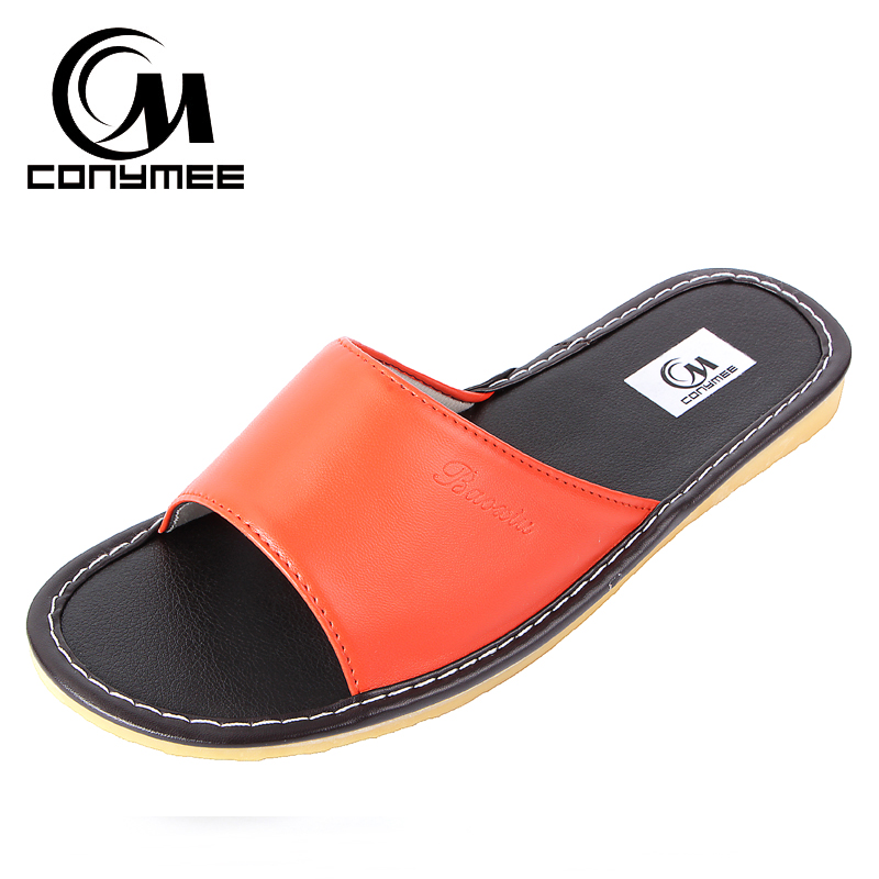Female Home Indoor Slippers Flip Flops Summer 2019 Leather Sandals Beach Slippers Non-slip Men Women Casual Shoes Bath Slippers 2