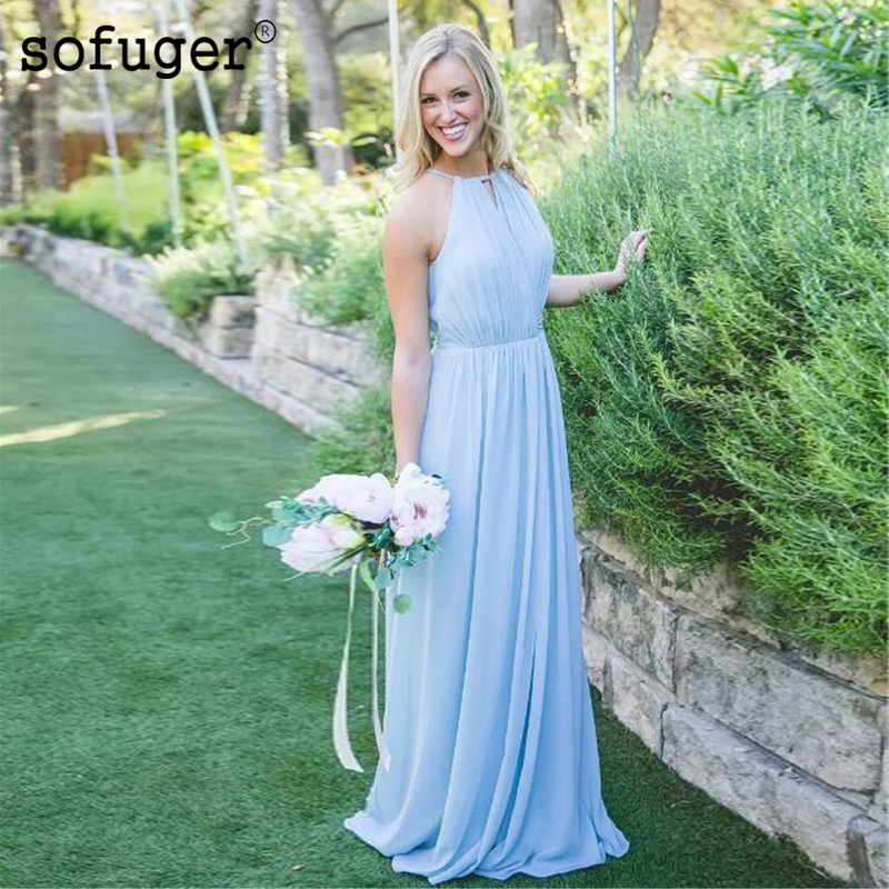 Light Blue Delicate Scoop Beach Chiffon Special Occasion Long Sexy Slit Bridesmaid Dresses Formal Vestidos Wedding Party Dresse