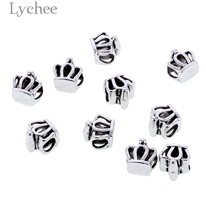 Lychee Retro 10pcs Silver Color Alloy Hollow Hair Braid Dread Dreadlock Beads Clips Crown Starfish Headwear Men Women Jewelry