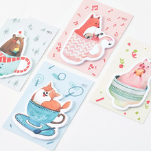 4 pcs/Lot Cute animal sticky note 30 sheet memo pad Bear fox pig dog stickers Stationery Office accessories School supplies 6667