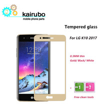 купить 10pcs Tempered glass for LG K10 2017 Screen Protector 2.5D Full cover Explosion Proof HD Glass Protective for LG Film дешево