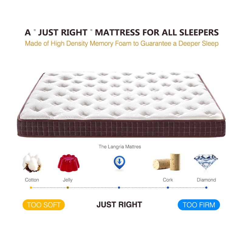 langria 8 inch dual layer modern plush high density bed memory foam mattress with bamboo cover queen size 8 hours deep sleep in mattresses from furniture