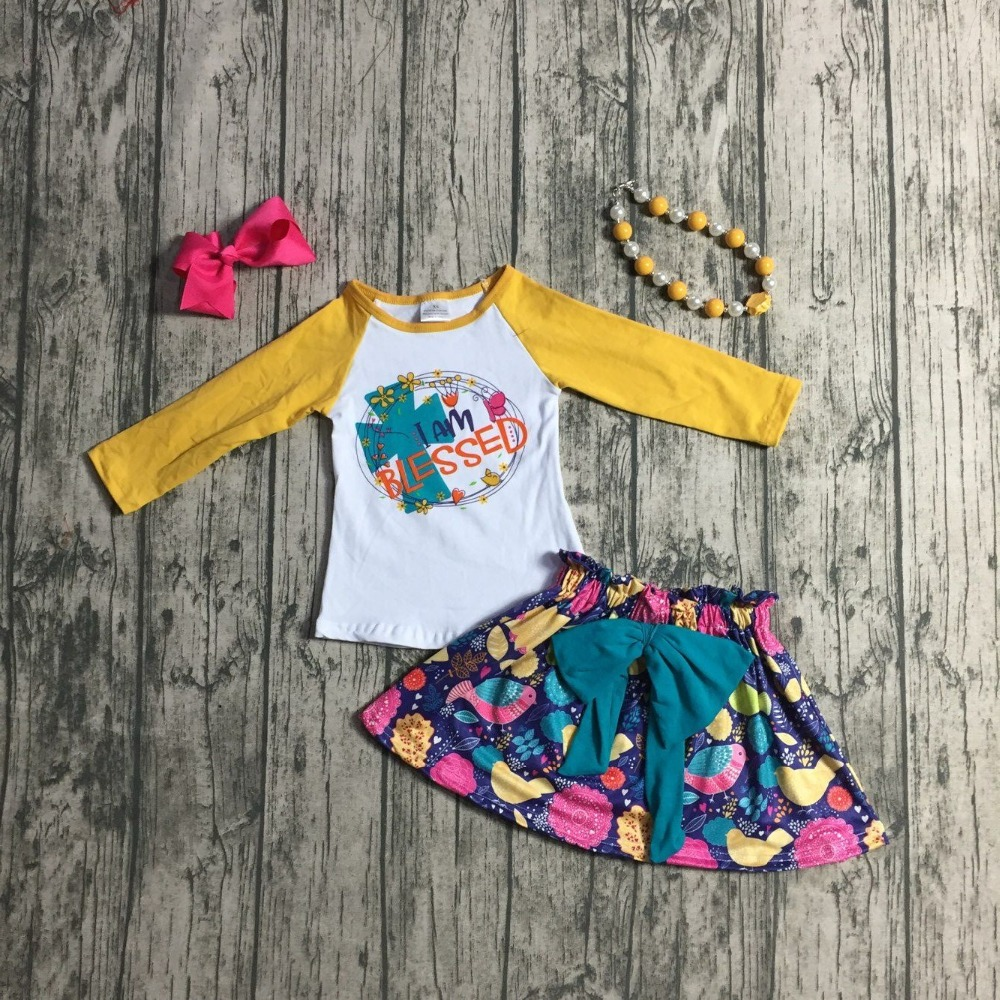 Fallwinter Baby Girls Outifits I Am Blessed Children Clothes Sets