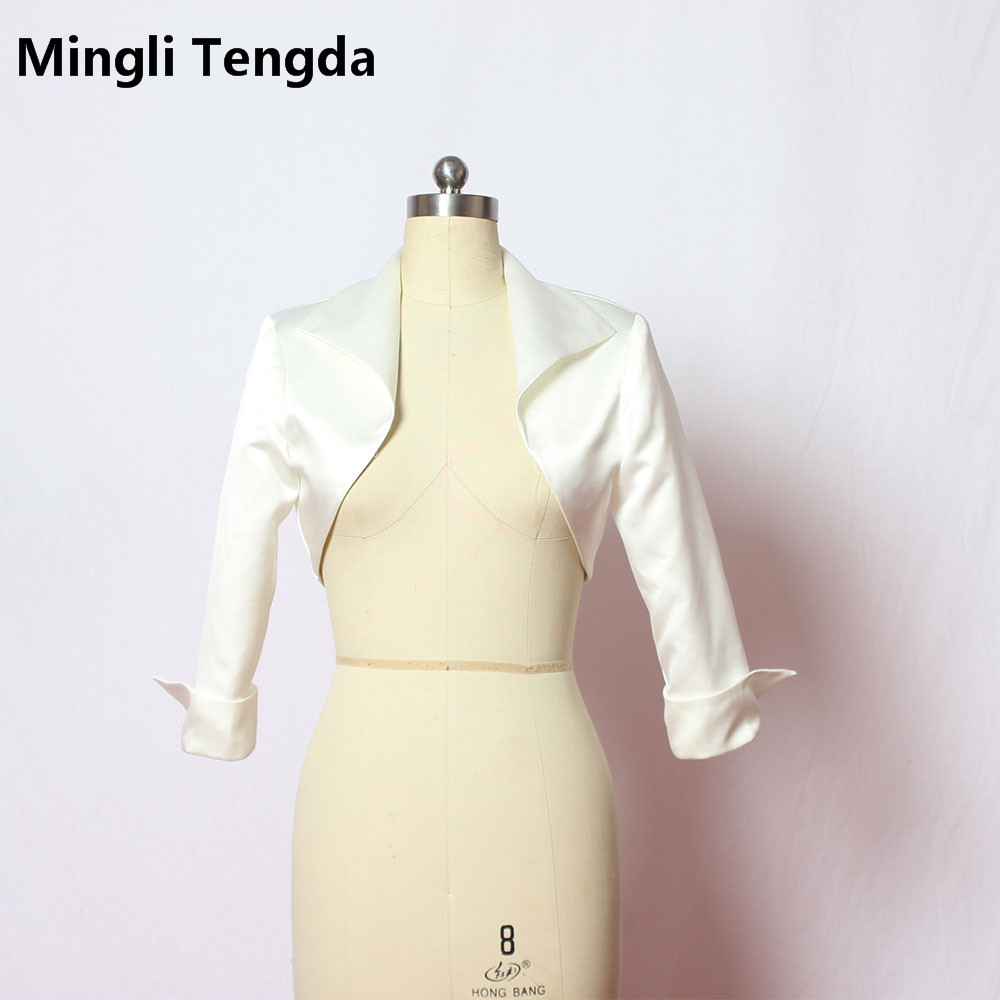 Mingli Tengda Custom Made Best Quality Modest 3/4 Sleeves Satin Bridal Bolero Wedding Jackets/Stole/shawl Wedding Accessories