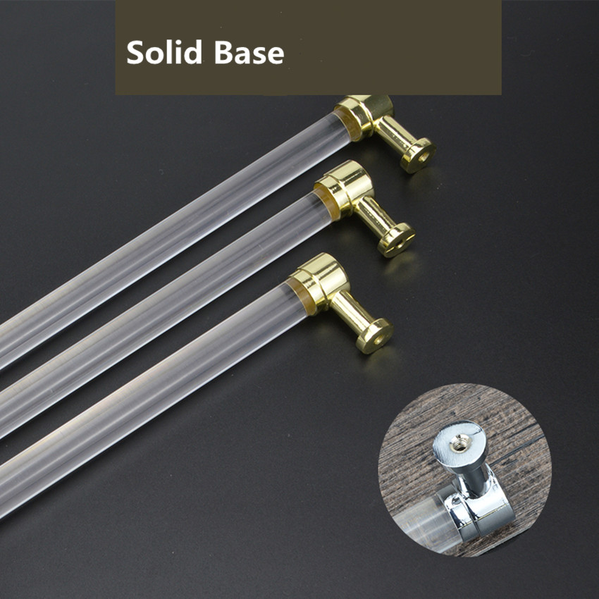 Купить с кэшбэком 96 128 160mm 224 256mm modern fashion Transparent acrylic kitchen cabinet wardrobe door handle silver gold cupboard drawer pull