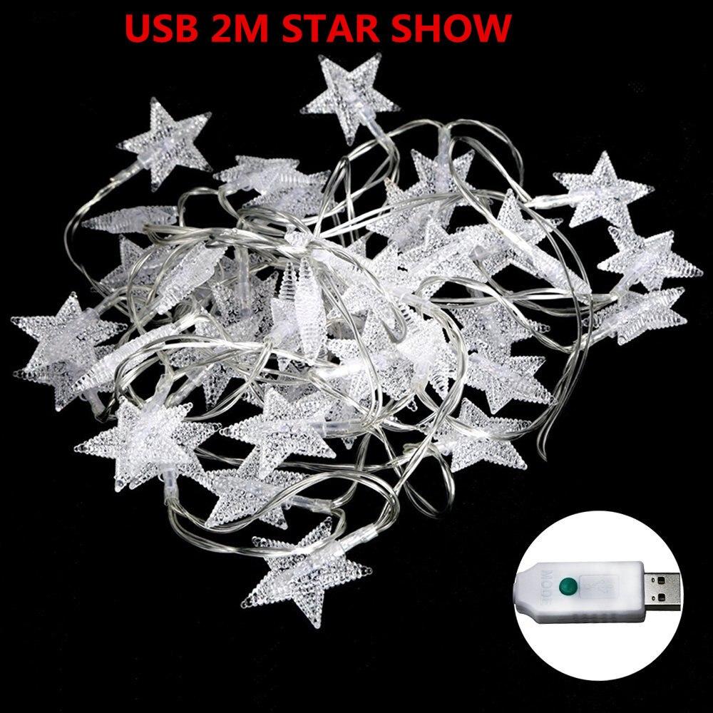 OSIDEN шар света строки Star USB 5 В 2 м 20LED праздничное освещение открытый Водонепроницаемый для вечерние свадебные Рождество Сад украшения