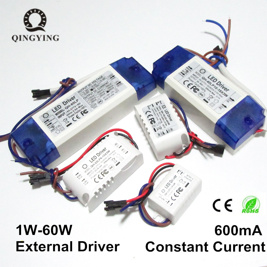 High PF Constant Current LED Driver 600mA 3W 10W 20W 30W 40W 50W 60W 1-2x3w 6-10x3w 10-18x3w 18-30x3W Lamp Lighting Transformers