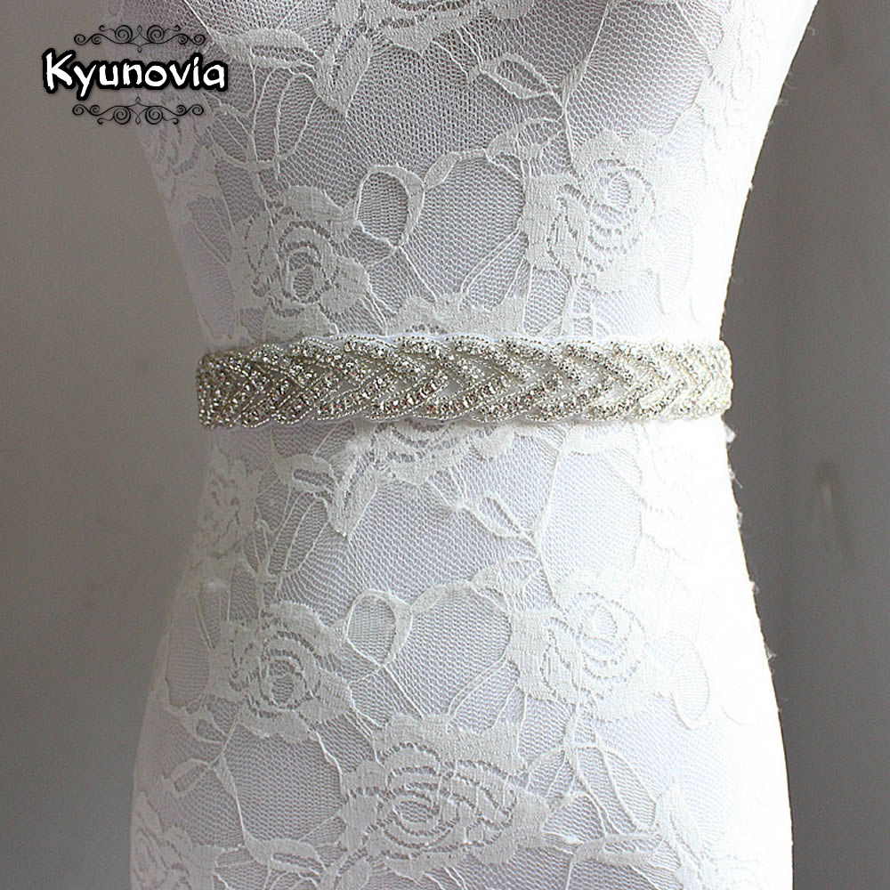 Kyunovia Wedding Bridal Sash Belt Crystal Dress Sash Rhinestone Prom Wedding Belt Party Bridesmaid Belt Dress Cummerbunds FB22