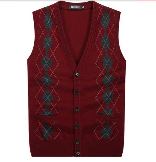 New Arrival Men's Sweater Vest Button Down Cardigan Knit Vest Wool ...