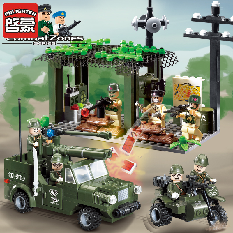 Enlighten Blocks Girls Boys Military Model Educational Blocks Army Car Motor Weapon Plastic Building Blocks Toys For Children enlighten building blocks military cruiser model building blocks girls