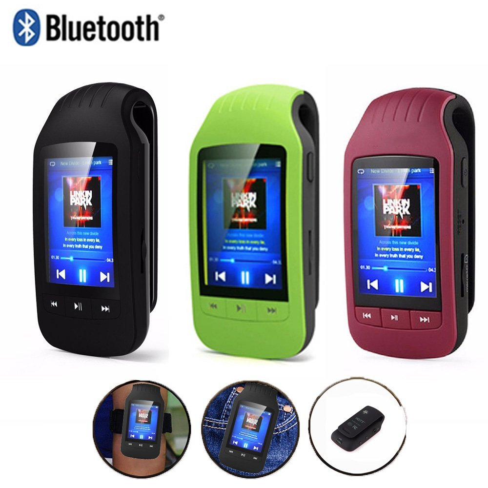 MP3 Player Bluetooth 8GB with Clip Sport Portable Mini MP3 Music Player Max Support Micro SD Card 64GB Pedometer Multifuncti