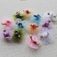 CNCRAFT 20pcs Organza Ribbon Flower W/Rose Appliques Craft Wedding
