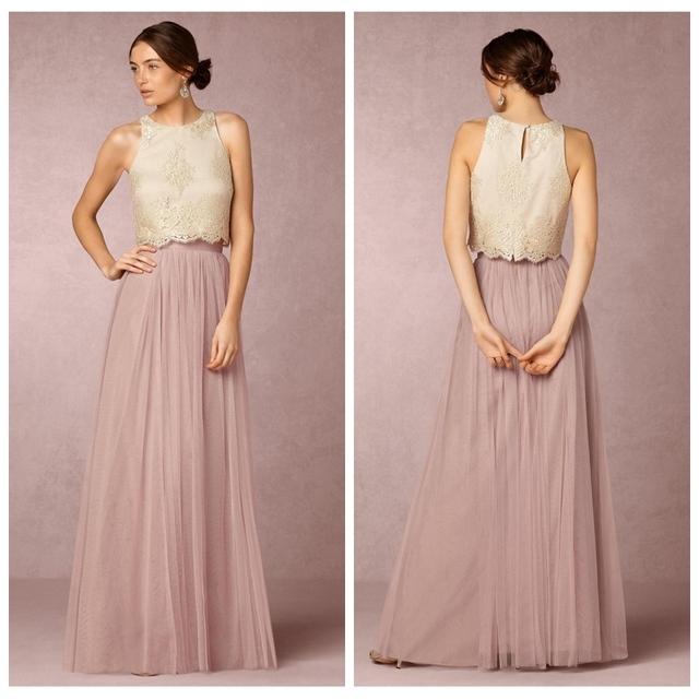 2017 O Neck Lace Liques A Line Bridesmaids Dresses Two Piece Tulle Skirt Formal