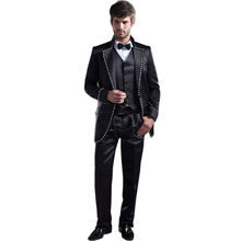 ba6dc201d2 Por encargo hombres trajes Groomsmen Notch Lapel Groom Tuxedos negro boda  mejor hombre traje (chaqueta + Pantalones + chaleco)