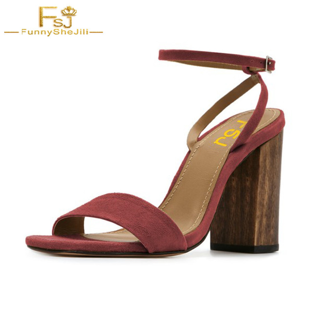 Donna 8 marrone Suede Block Heel 8 Donna cm Ankle Strap Sandalo Retro Buckle   74b6ce