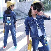 Girls Sports Cowboy Suits Spring Autumn Children Mickey Jacket Fashion Long Sleeve Kids Clothing Sets 3Pieces