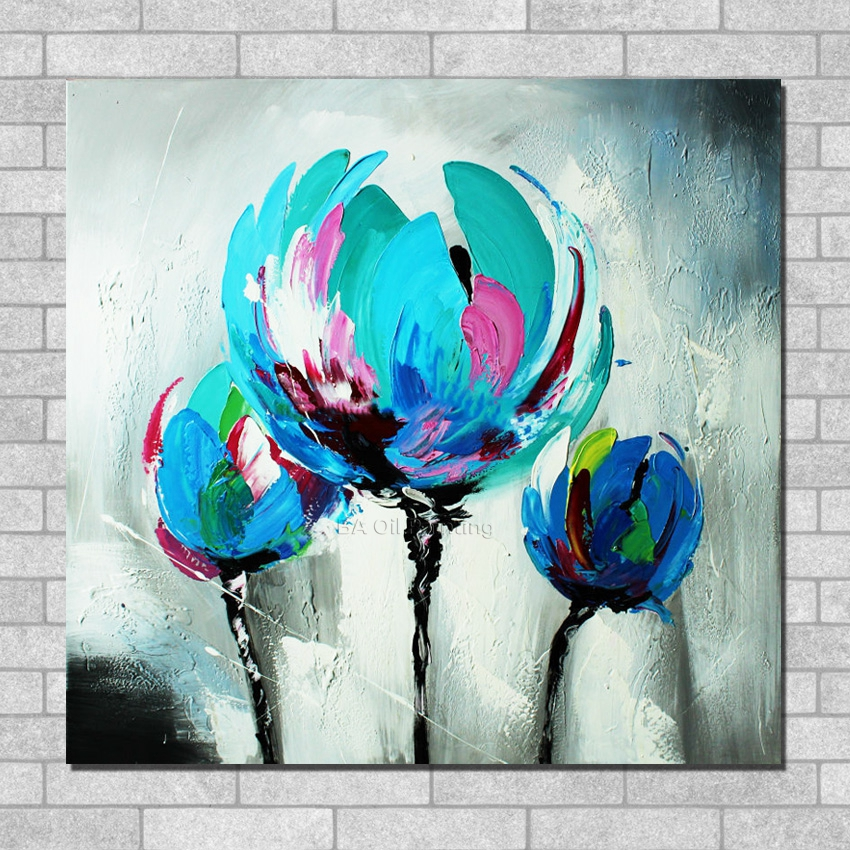 Thick textured tulip palette knife oil painting 100 for Texture painting on canvas