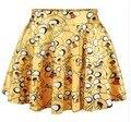 Nova verão 2015 saias das mulheres saias plissadas Adventure time jake Colher saia saia S M L XL plus size