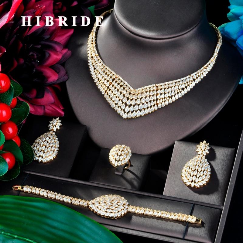 HIBRIDE Luxury Design Gold Color Wedding Bridal Cubic Zircon Necklace Dubai 4PCS Dress Jewelry Set For
