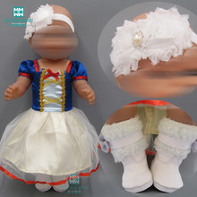 Doll clothes fashion Snow White princess Skirt baby dress for 43cm new born doll and american doll accessories(China)
