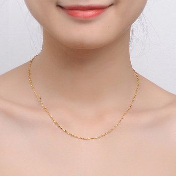 XXX 24K Pure Gold Necklace Real AU 999 Solid Gold Chain Beautiful Smooth Shiny Upscale Trendy Classic Fine Jewelry Hot Sell New 5
