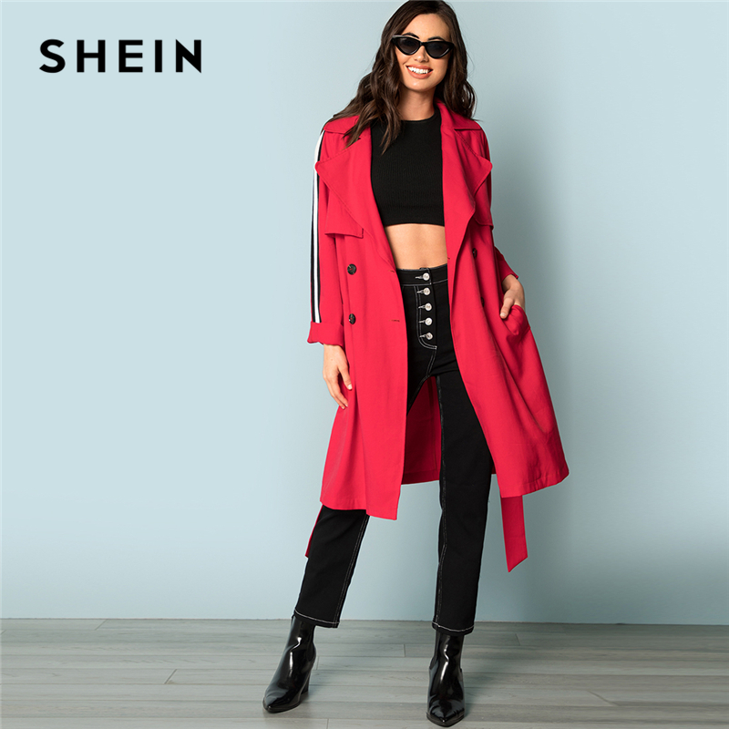 4a97f284324c5 SHEIN Red Elegant Highstreet Flap Front Belted Trench Long Double Breasted  Coat 2018 Autumn Minimalist Women Outwear Clothes