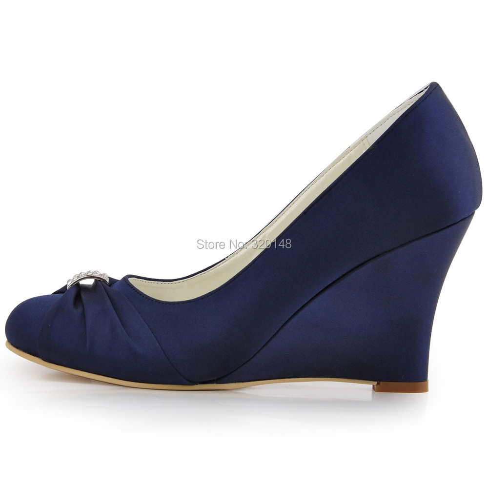 a7441262577171 Women Wedges High Heel Wedding Bridal Shoes Navy Blue Rhinestone Closed Toe  Satin Bride lady Prom Party Pumps EP2005 Teal White-in Women s Pumps from  Shoes ...