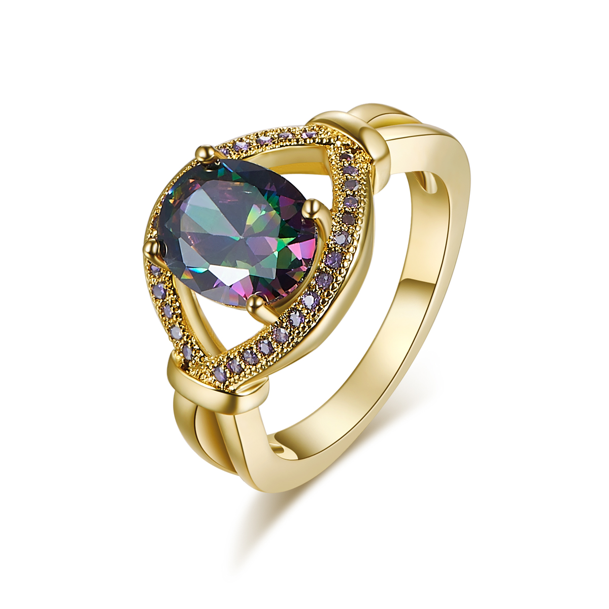new fashion Gold color eye ring rainbow Multi color CZ ring purple Colour ring for women jewelry and men jewelry
