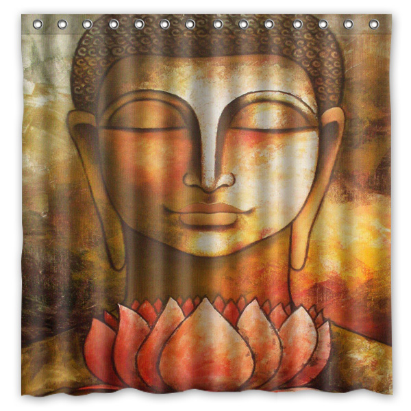 Buddha Pattern Printed Polyester Shower Curtain Waterproof Home Bathroom  Curtains 180x180cm