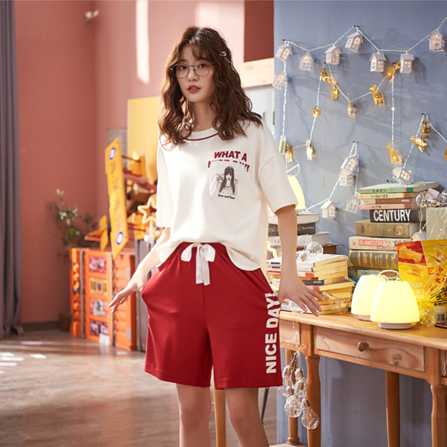 Tank Top And Shorts Set Womens Clothes Casual Summer Short Sleeve Nightwear Drawstring Preppy Loungewear  Pajamas For Women