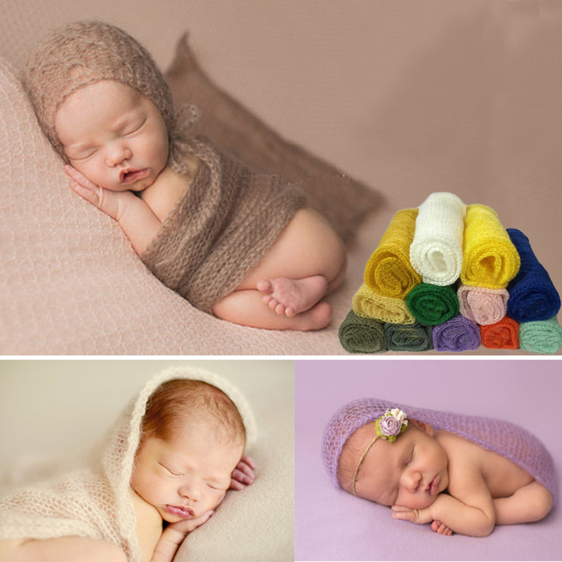 Mohair Soft Baby Photography Props Nyfødt Fotolay Wraps Spedbarn - Baby klær