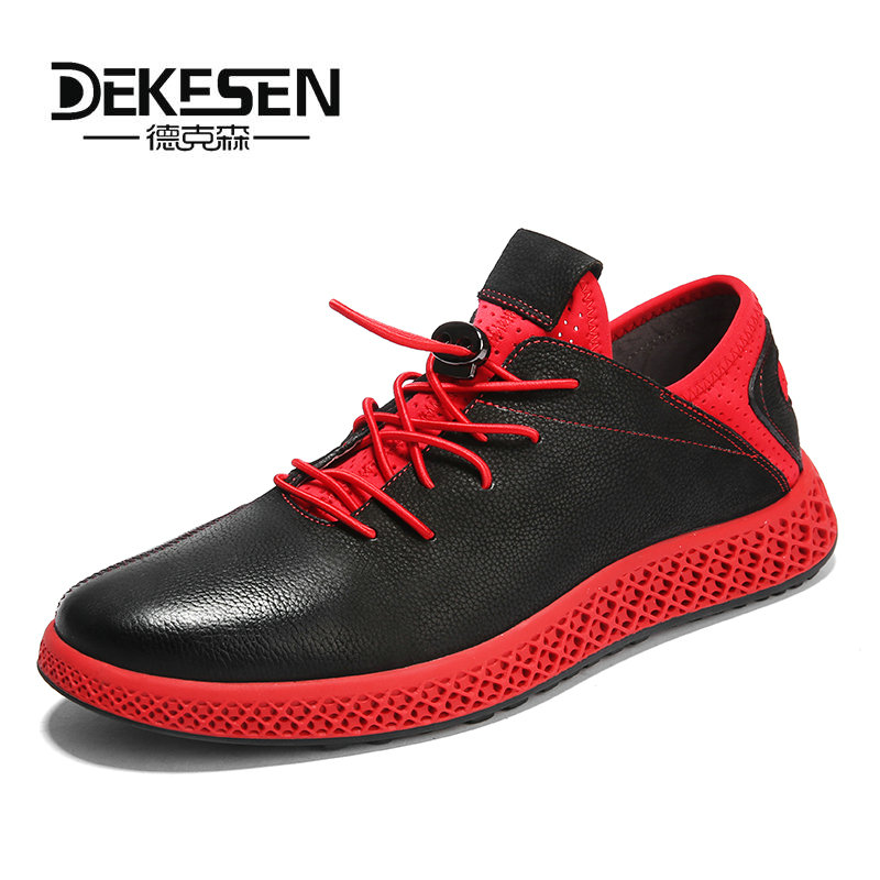 Fashion Genuine Leather Men Shoes Wear-resistant Bottom Black Sneakers Men Cool Adult Casual Shoes Footwear Krasovki Zapatillas 2017brand sport mesh men running shoes athletic sneakers air breath increased within zapatillas deportivas trainers couple shoes