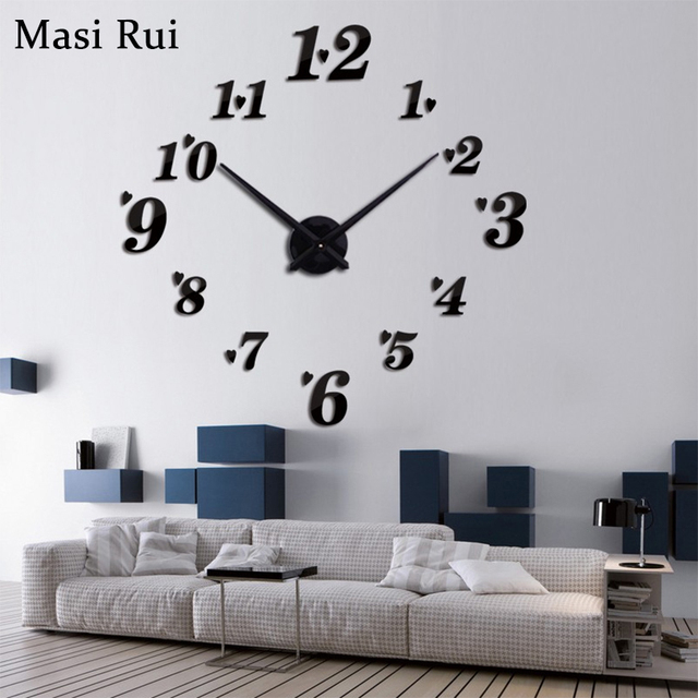 creative designs mirror wall clock large. 3D big size rushed wall clock mirror sticker DIY brief living room house  modern design