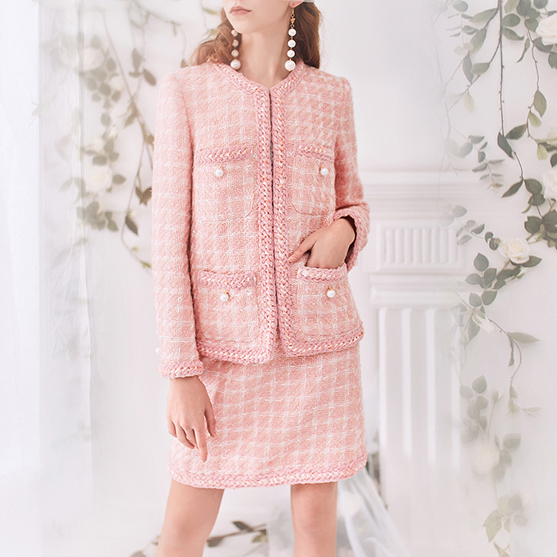 Pink Plaid tweed jacket skirt suit pearl buckle Spring autumn winter women s jacket ladies 2