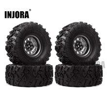 INJORA 4Pcs 2.2 גומי צמיגים & מתכת Beadlock גלגל שפת 1:10 RC Rock Crawler הצירי SCX10 90046 90060 RR10 AX10 Wraith 90056