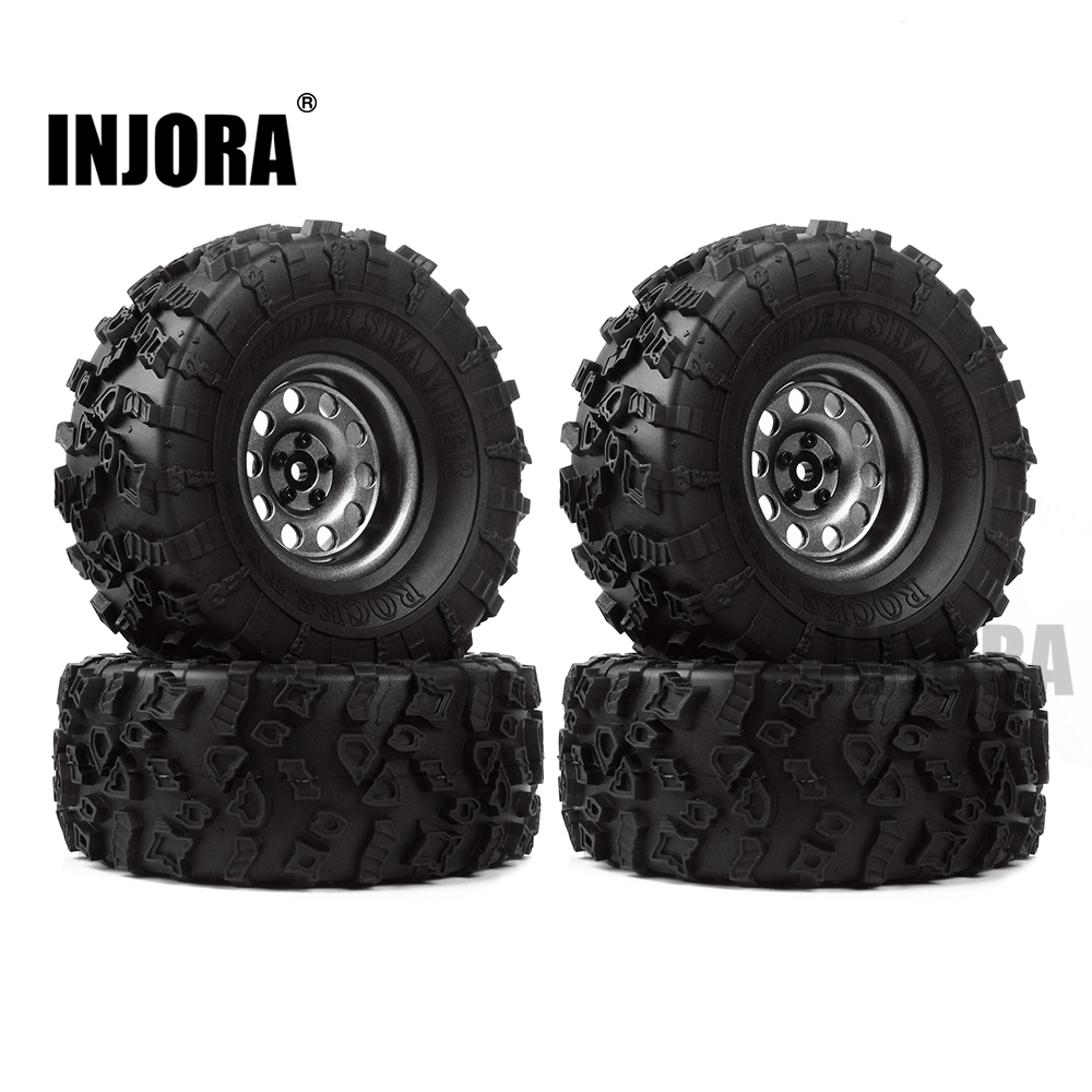 INJORA 4Pcs 2.2 Rubber Tires & Metal Beadlock Wheel Rim for 1:10 RC Rock Crawler Axial SCX10 90046 90060 RR10 AX10 Wraith 90056 2pcs 2 2 metal wheel hubs for 1 10 scale rc crawler car nv widen version outer beadlock wheels diameter 64 5mm width 43 5mm