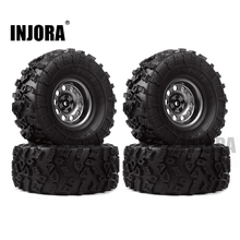INJORA 4Pcs 2.2 Rubber Tires & Metal Beadlock Wheel Rim for 1:10 RC Rock Crawler Axial SCX10 90046 90060 RR10 AX10 Wraith 90056