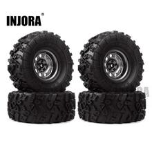 INJORA neumáticos de goma y Metal con abalorios, 4 Uds. 2,2, llanta de rueda para 1:10 RC Rock Crawler Axial SCX10 90046 90060 RR10 AX10 Wraith 90056