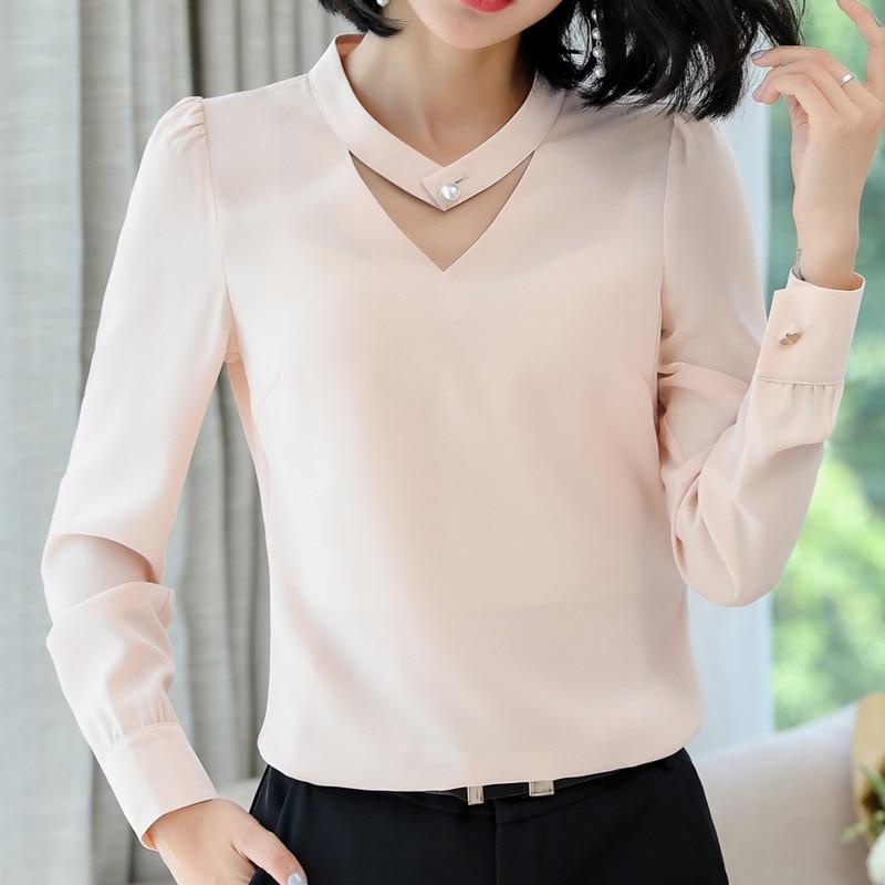 Image 4 - 2018 New slim formal long sleeve women shirt OL autumn Elegant temperament V Neck chiffon blouse office ladies plus size topsblouse officeoffice ladyplus size tops -