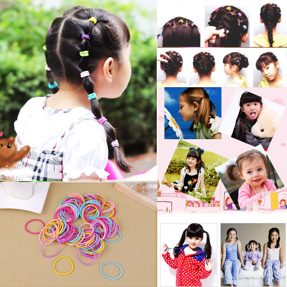100pcs Little Girl Hair Accessories Cute Candy Colors Elastic Hair