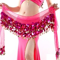 Top Selling For Multi Color Chiffon Belly Dance Hip Wrap Scarf Coin Sequin Waistband Skirt
